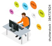 workplace. web programming... | Shutterstock .eps vector #384737824