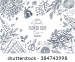 flower shop. linear graphic.... | Shutterstock .eps vector #384743998