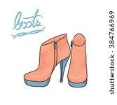 a pair of pastel modern boots ... | Shutterstock .eps vector #384766969