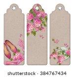 spring watercolor top view... | Shutterstock . vector #384767434