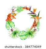 tropical leaves  exotic giraffe ... | Shutterstock . vector #384774049