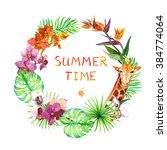 tropical leaves  exotic giraffe ... | Shutterstock . vector #384774064