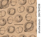 seamless pattern with macadamia ... | Shutterstock .eps vector #384784558