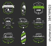 Set of vector logos and badges surfing, camping, hiking and outdoor activities. The collection of symbols and emblems surf clubs, surf schools, rental, camping and beaches