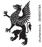 heraldic griffin black with...