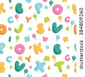 cute alphabet and balloons... | Shutterstock .eps vector #384809260