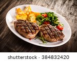 grilled beefsteaks and... | Shutterstock . vector #384832420