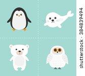 Arctic Polar Animal Set. White...
