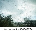 Raindrops On Window Glass With...