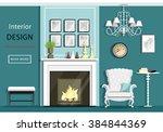 cute vintage living room...   Shutterstock .eps vector #384844369