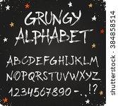 hand drawn dry brush alphabet.... | Shutterstock .eps vector #384858514