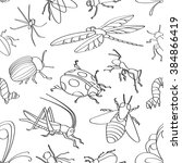 doodle pattern with various... | Shutterstock . vector #384866419