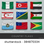 wave country flag with shadows... | Shutterstock .eps vector #384870334