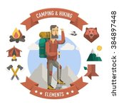 camping and hiker illustration  ... | Shutterstock .eps vector #384897448