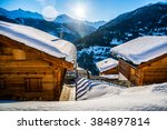 alps holiday cottage | Shutterstock . vector #384897814