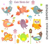 set of 9 cute birds. cartoon... | Shutterstock . vector #384909658