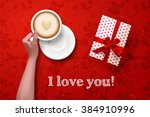 hand holding cup of coffee with ... | Shutterstock .eps vector #384910996