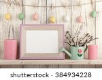 easter decoration with blank... | Shutterstock . vector #384934228