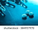 medicine background  pills and... | Shutterstock . vector #384957970