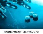 medicine background  pills and... | Shutterstock . vector #384957970