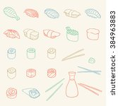simple sushi and rolls set | Shutterstock .eps vector #384963883