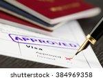 visa form close up  fountain... | Shutterstock . vector #384969358