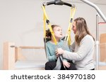 disabled child together with a... | Shutterstock . vector #384970180