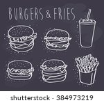 burgers and fries on chalkboard | Shutterstock .eps vector #384973219