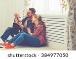 happy family mother and father... | Shutterstock . vector #384977050