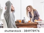 couple fighting in the morning. ... | Shutterstock . vector #384978976