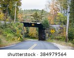 Small photo of Tight squeeze on curvy New Hampshire road