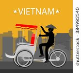 vietnam tricycle. vector and... | Shutterstock .eps vector #384982540