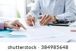 business people negotiating a... | Shutterstock . vector #384985648