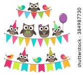 set of vector birthday party... | Shutterstock .eps vector #384987730