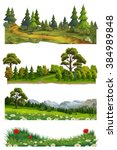 nature landscape  vector set | Shutterstock .eps vector #384989848