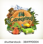camping  adventure time  vector ... | Shutterstock .eps vector #384990004