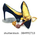 watercolor navy shoes with... | Shutterstock . vector #384992713