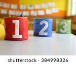 three jars colored red green... | Shutterstock . vector #384998326