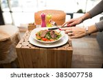 fitness concept with healthy...   Shutterstock . vector #385007758