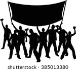silhouettes of demonstrators... | Shutterstock .eps vector #385013380
