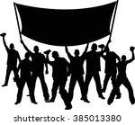 silhouettes of demonstrators... | Shutterstock .eps vector #385013380