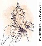 buddha holding lotus flower.... | Shutterstock .eps vector #385015384