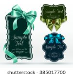 vintage labels with bows | Shutterstock .eps vector #385017700