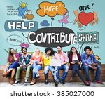 contribute corporate... | Shutterstock . vector #385027000