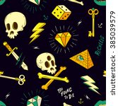 hipster tattoo seamless pattern | Shutterstock .eps vector #385039579