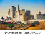 hartford skyline on a sunny...   Shutterstock . vector #385049170