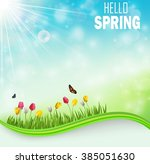 springtime meadow background... | Shutterstock .eps vector #385051630