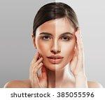 Woman Face With Half Tan Skin....