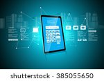 tablet pc with password... | Shutterstock . vector #385055650