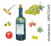 hand drawn watercolor set ... | Shutterstock . vector #385071343